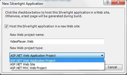 New Silverlght Application Project
