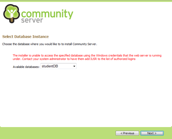 Error saat instalasi community server 2007