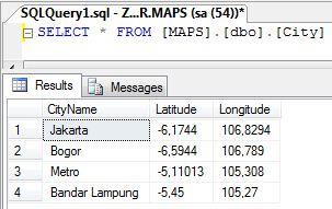 Data Kota dan Koordinatnya Tersimpan di Sql Server
